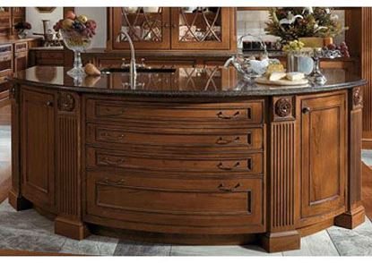 Kitchen Island with Curved Drawer Fronts